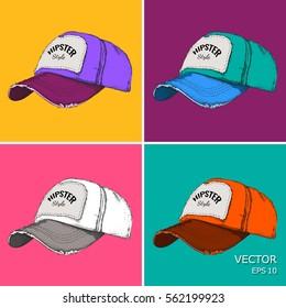 Hand drawn baseball cap. Pop art style vector illustration.