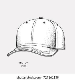 Hand drawn baseball cap. vector illustration