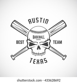 Hand Drawn Baseball Team Logo Template. Skull and Crossed Bats Sign. Ball Head Concept. Sport Emblem with Premium Typography. Isolated.