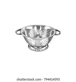 Hand Drawn Basic Colander Sketch Symbol. Vector Sieve Element In Trendy Style.