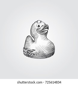 Hand Drawn Bathroom Duck Sketch Symbol isolated on white background. Vector Bathroom accessories In Trendy Style
