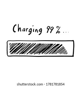 hand drawn of battery charging