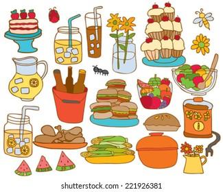 Hand drawn BBQ Picnic Foods