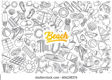 Hand drawn beach doodle set background with yellow lettering in vector