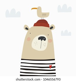 Hand drawn bear sailor. Love sea