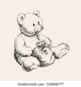 Hand drawn bear toy vector illustration