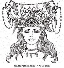 Hand Drawn Beautiful Artwork Of Female Shaman With Third Eye Tattoo Line Zentangle Hipster Art