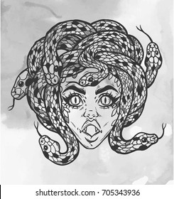 Hand drawn beautiful artwork of Medusa portriat - a female serpent spirit in Greek mythology. Alchemy, religion, spirituality, occultism, tattoo art, coloring books. Isolated vector illustration.