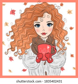 Hand drawn beautiful cute autumn girl with a cup of tea. Vector illustration.