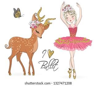 Hand drawn beautiful cute ballerina girl with little deer. Vector illustration.