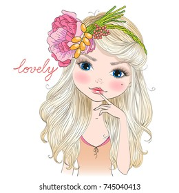 Hand drawn beautiful cute blonde girl in a wreath of flowers. Vector illustration.