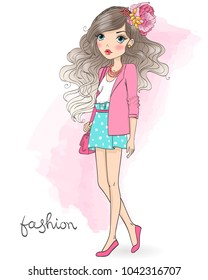 Hand drawn beautiful cute cartoon girl on background with an inscription fashion. Vector illustration.