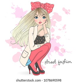 Hand drawn beautiful cute cartoon street fashion girl. Vector illustration.
