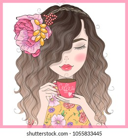 Hand drawn beautiful cute curly girl with coffee in his hands. Vector illustration.