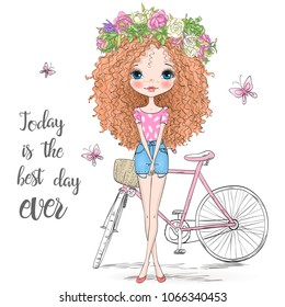 Hand drawn beautiful, cute curly hair girl in a wreath stands near bicycle. Vector illustration.