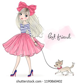Hand drawn beautiful, cute fashion girl with pretty dog chihuahua. Vector illustration.