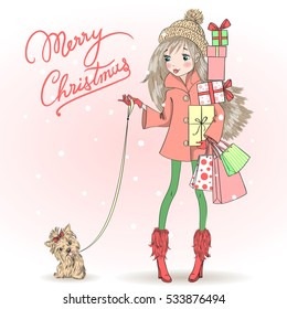 Hand drawn beautiful, cute girl with a gift and dog, on background with inscription Merry Christmas. Vector illustration.