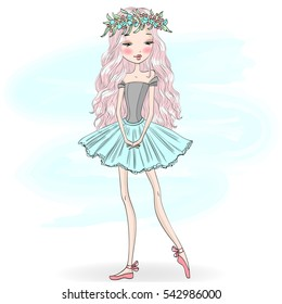 Hand drawn beautiful cute girl ballerina. Vector illustration.