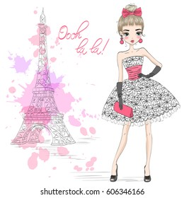 Hand drawn beautiful cute girl in an elegant dress on the background of Eiffel Tower. Vector illustration.