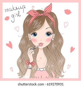 Hand drawn beautiful cute girl with lipstick in her hand, doing makeup. Vector illustration.
