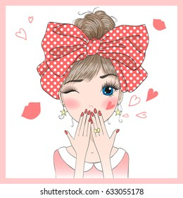 Hand drawn beautiful cute girl sends an air kiss. Vector illustration.