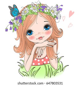 Hand drawn beautiful cute girl in a wreath from daisies with a butterfly lies on a green grass. Vector illustration.