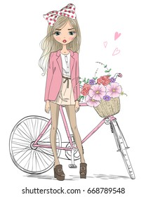Hand drawn beautiful, cute girl stands near bicycle with a basket full of flowers. Vector illustration.