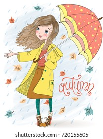 Hand drawn beautiful cute girl with umbrella on background with an inscription autumn. Vector illustration.