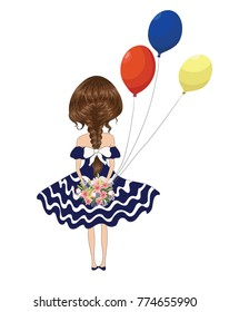 Hand drawn beautiful cute girl stands with her back with a bouquet of flowers and balloon.