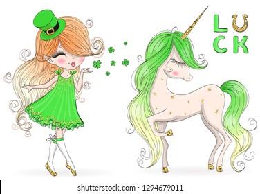 Hand drawn beautiful, cute, leprechaun girl with unicorn. Vector illustration.