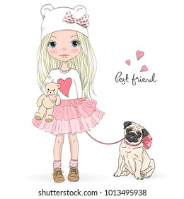 Hand drawn beautiful, cute, little girl with pretty dog pug. Vector illustration.