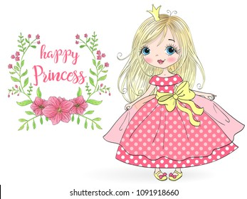 Hand drawn beautiful, cute, little girl Princess. Vector illustration.