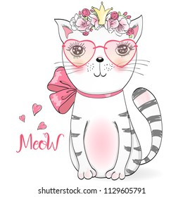 Hand drawn beautiful cute little girl kitty with flowers. Vector illustration.
