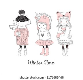 Hand drawn beautiful cute little winter girls collection. Merry Christmas greeting cards vector design