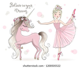 Hand drawn beautiful cute little unicorn with ballerina girl . Vector illustration.