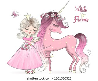 Hand drawn beautiful cute little unicorn with princess girl . Vector illustration.