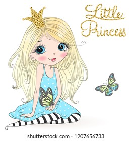 Hand drawn beautiful cute little princess girl with a butterfly. Vector illustration.