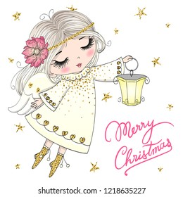 Hand drawn beautiful cute little Christmas angel girl with a lamp. Vector illustration.