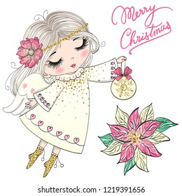 Hand drawn beautiful cute little Christmas angel girl with a flower. Vector illustration.