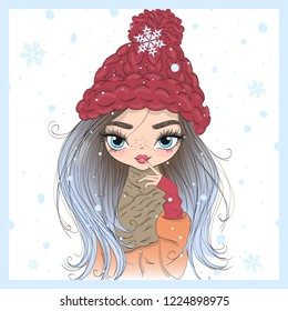 Hand drawn beautiful cute little winter girl with a snow. Vector illustration.