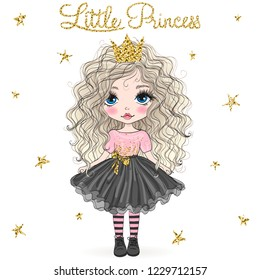 Hand drawn beautiful cute little princess girl with crown. Vector illustration.