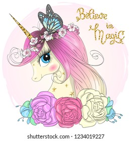 Hand drawn beautiful cute little unicorn girl with wreath and butterfly on her head. Vector illustration.