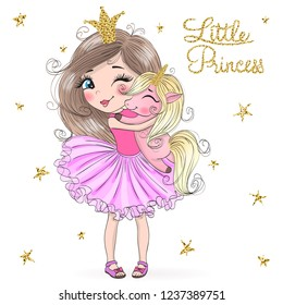 Hand drawn beautiful cute little princess girl with unicorn. Vector illustration.
