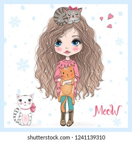 Hand drawn beautiful, cute, little girl with three pretty cats. Vector illustration.
