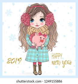 Hand drawn beautiful cute little New Year girl with pink Pig. Vector illustration.