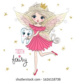 Hand drawn beautiful cute little tooth fairy princess girl with a tooth. Vector illustration.