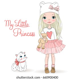 Hand drawn beautiful, cute, little blonde girl with freckles and pretty cat on the background with words My Little Princess. Vector illustration.