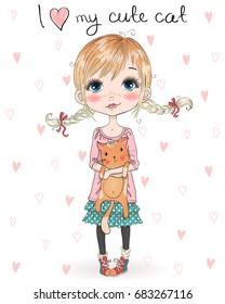 Hand drawn beautiful, cute, little girl with pretty cat. Vector illustration.