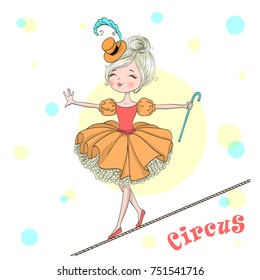 Hand drawn beautiful cute little circus girl balances on a tightrope. Vector illustration.