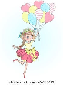 Hand drawn beautiful, cute, little girl is flying on balloons. Vector illustration.